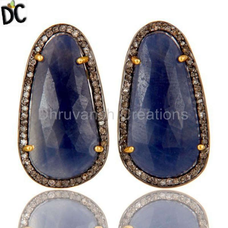 Gold Plated 925 Silver Blue SapphireGemstone Pave Diamond Stud Earring