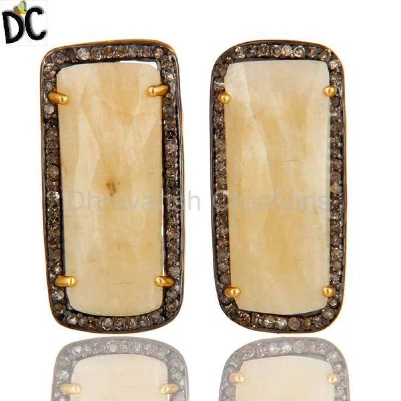 Gold 925 Silver Sapphire Gemstone Pave Diamond Stud Earrings wholesale