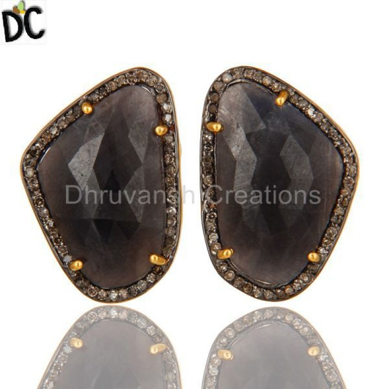 Blue Sapphire Gemstone Pave Diamond Earring silver jewelry Supplier