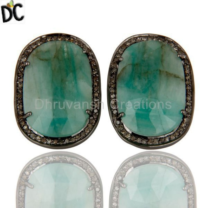 Emerald Gemstone Diamond 925 Silver Earring jewelry online Supplier