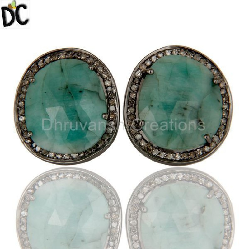 Emerald Gemstone Diamond Silver Stud Earring sterling jewelry Supplier