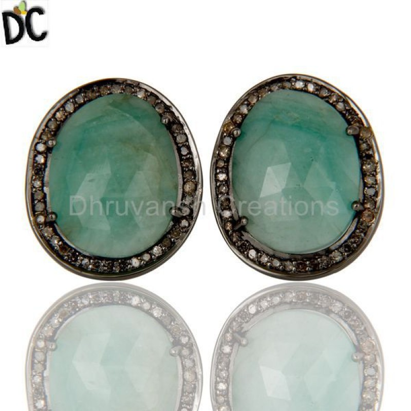 Sterling Silver Diamond and Emerald Gemstone Earring jewelry Supplier