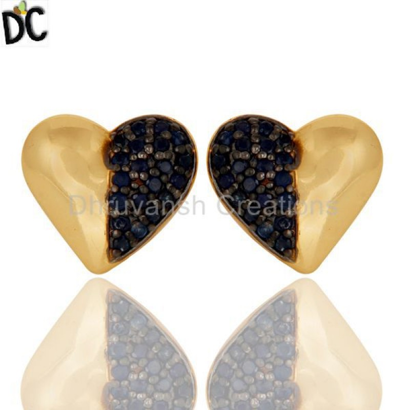 Blue Sapphire Gemstone Gold Plated 925 Silver Earring Manufacturer