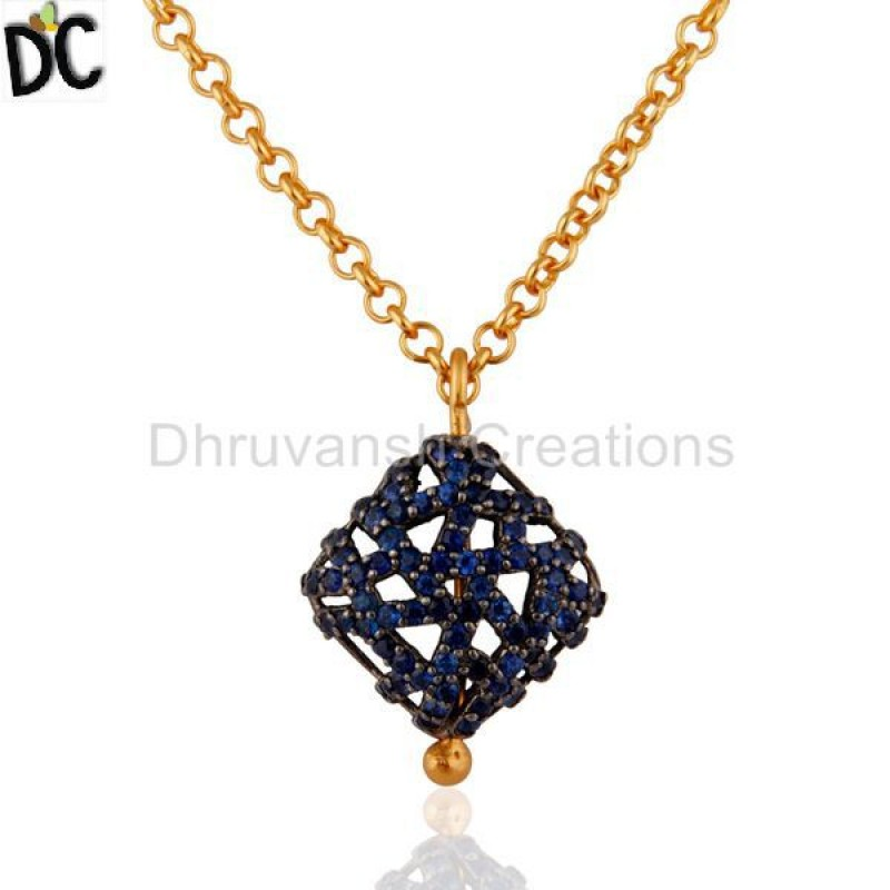 Gold Plated Silver Blue Sapphire Gemstone Necklace Handmade Jewelry