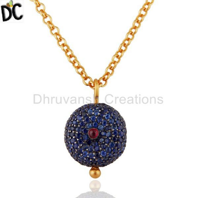 Gold Plated 925 Silver Ruby & Blue Sapphire Gemstone Pendant Jewelry