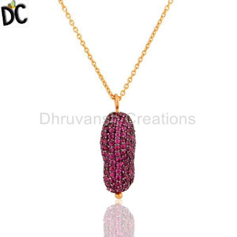Ruby Gemstone 925 Silver Pendant Gold Plated jewelry Manufacturer