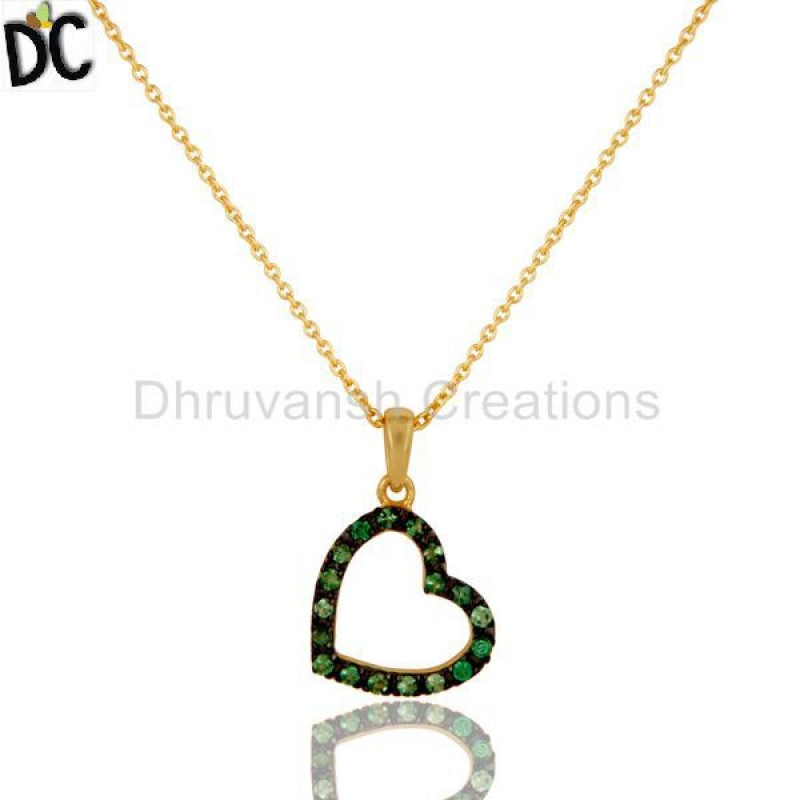 Tsavourite Gemstone Gold Plated 925 Silver Necklace online jewellery