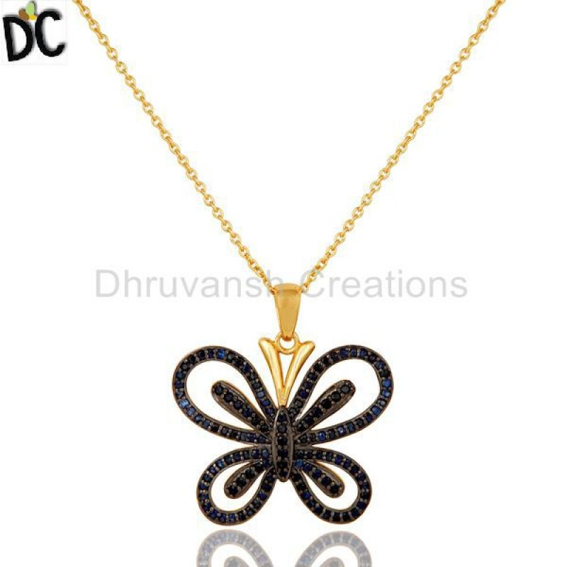 Sapphire Gemstone Gold Plated 925 Silver Necklace jewelry Supplier