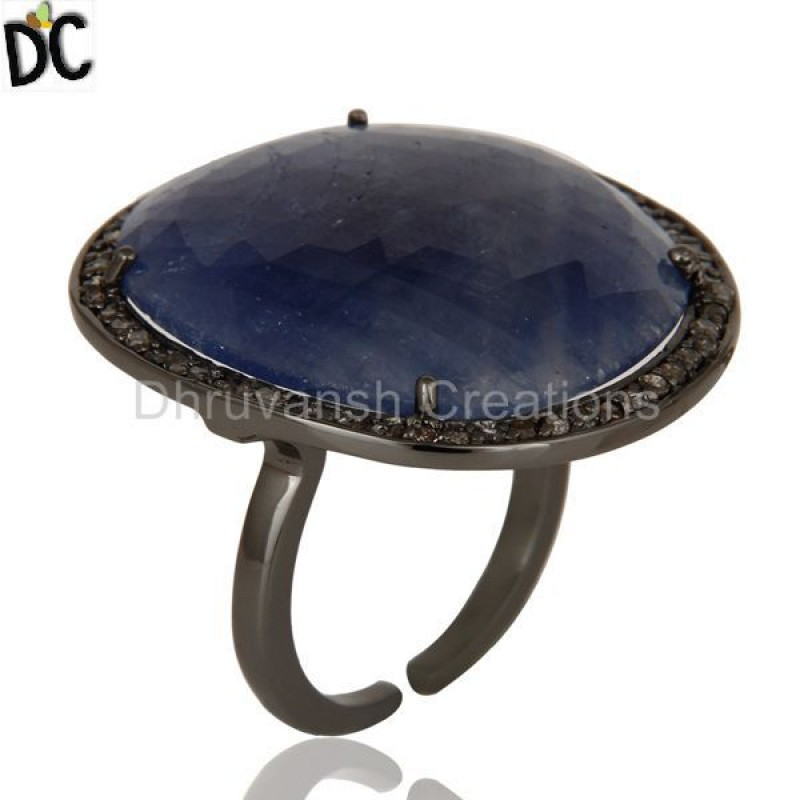 Pave Diamond Blue Sapphire Gemstone Silver Ring jewelry Wholesaler