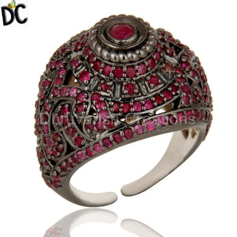 Ruby Gemstone Sterling Silver Ring handcrafted jewellery Wholesaler