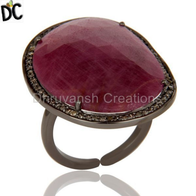Ruby Gemstone Pave Diamond Sterling Silver Ring Wholesale Handmade