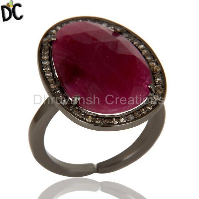 Pave Diamond And Ruby Gemstone Black 925 Silver Ring Manufacturer