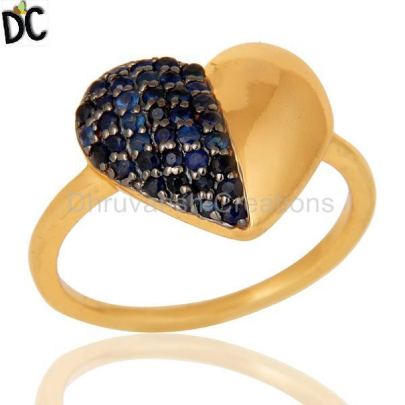Blue Sapphire Gemstone Gold Plated Sterling Silver silver Ring jewelry