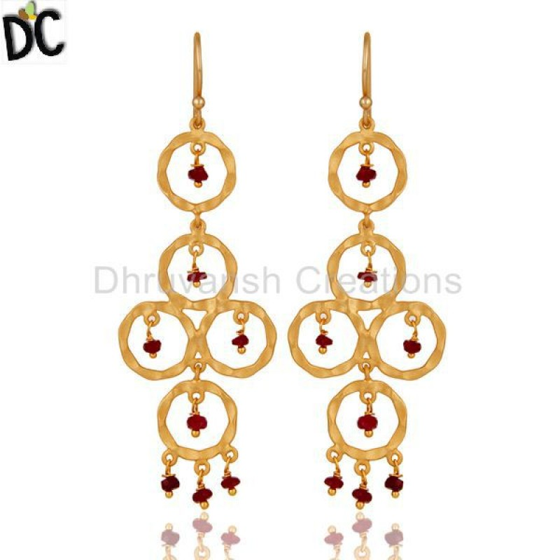 Ruby Gemstone Gold Plated 925 Silver Dangler Earring Handmade jewelry