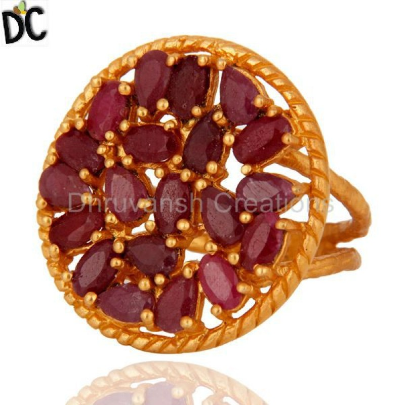 Gold Plated Sterling Silver Ruby Gemstone Wedding Ring jewelry