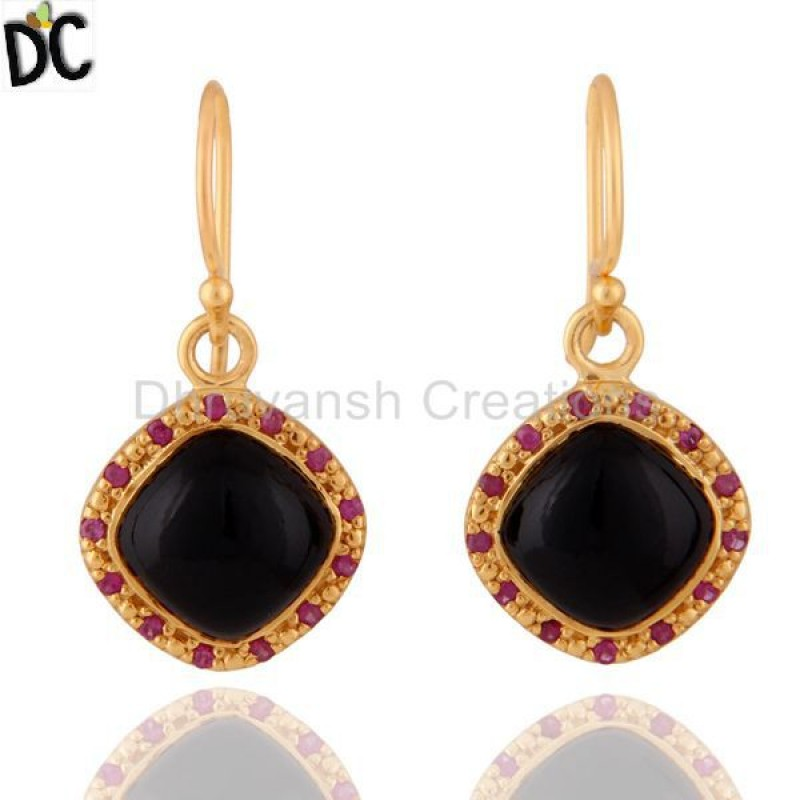 Gold Plated Natural Black Onyx And Ruby Gemstone 925 Silver Earring