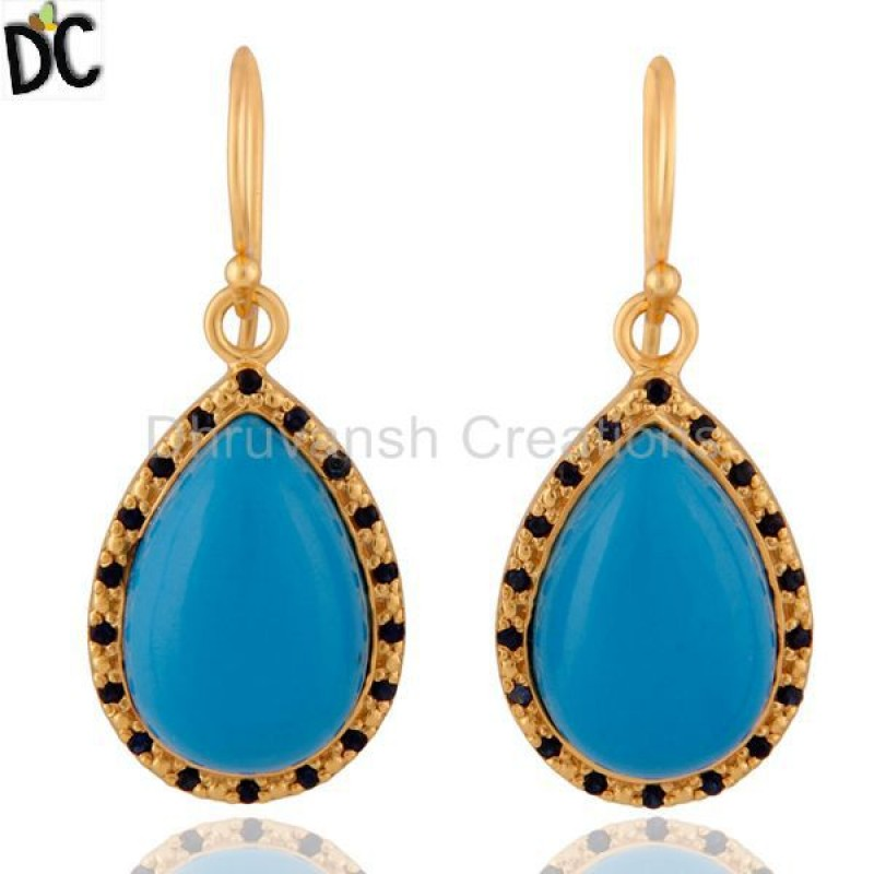 Turquoise And Blue Sapphire Gemstone Sterling SIlver Earring jewelry