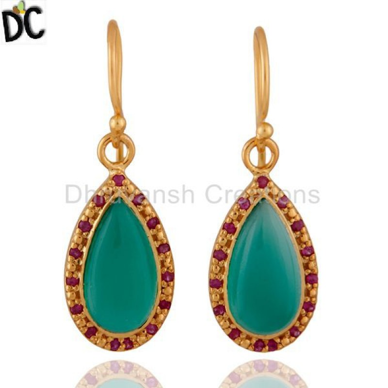 Green Onyx And Ruby Gemstone Sterling Silver Earring jewelry Supplier