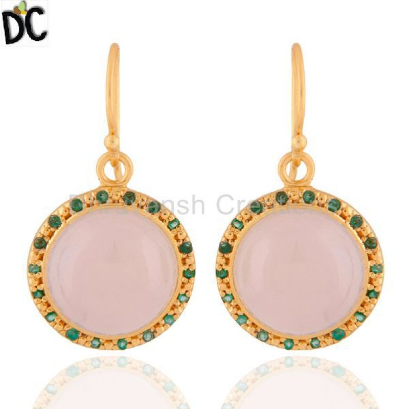 Emerald & Chalcedony Gemstone Sterling Silver Earring jewelry Supplier