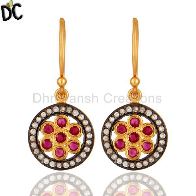 925 Sterling Silver Ruby And Topaz Gemstone Earring jewelry Supplier