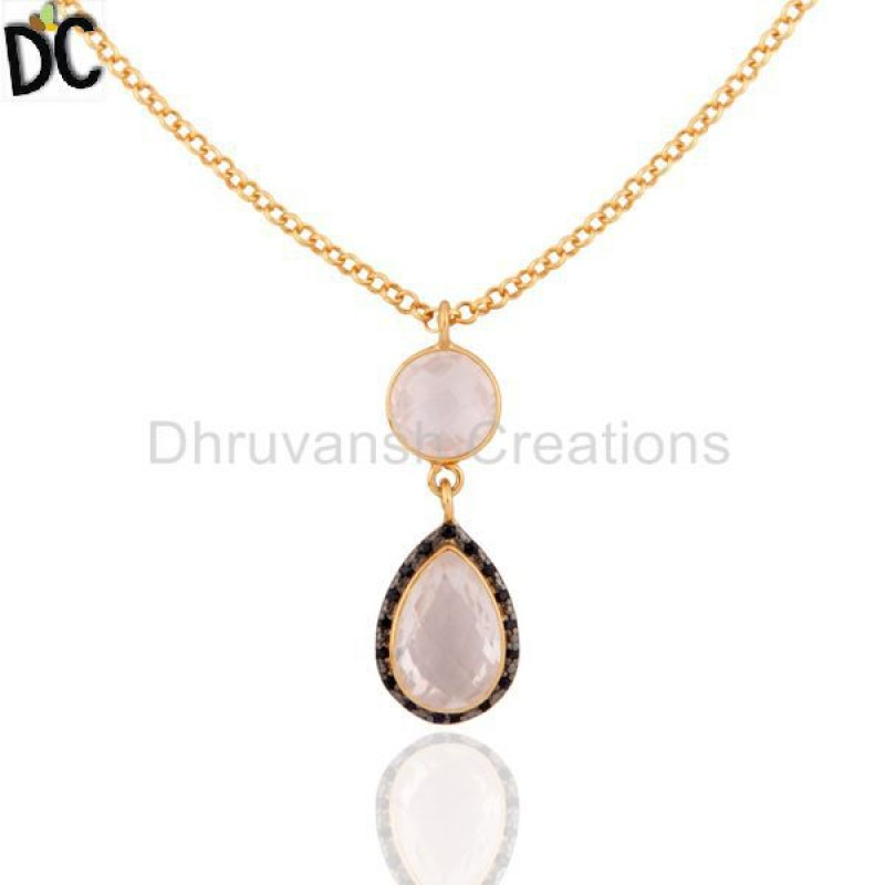 Gold Plated Sterling Silver Rose Quartz And Sapphire Gemstone Pendant
