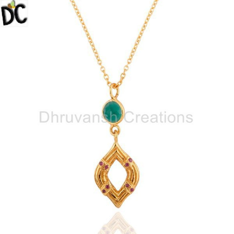 Green Onyx And Ruby Gemstone 925 Silver Pendant jewelry Supplier