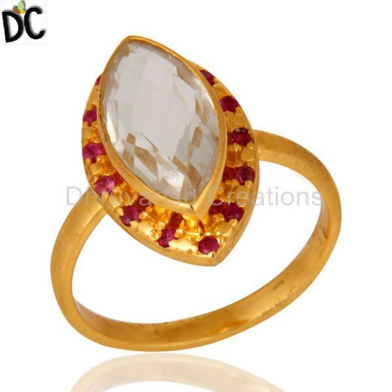 Ruby And Crystal Gemstone Silver Ring Jewelry Manufacturer & Supplier