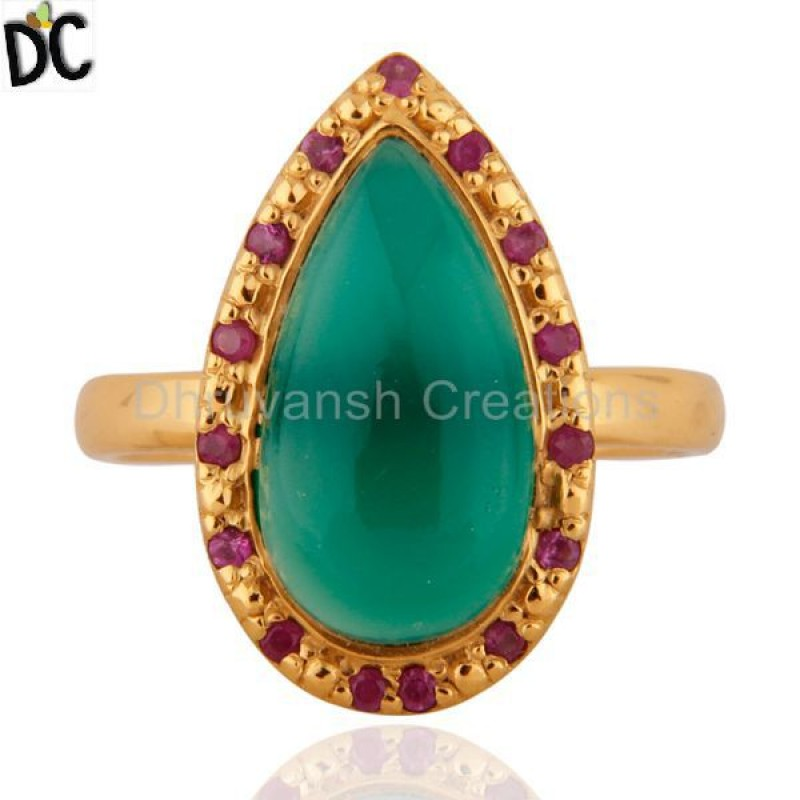 925 Silver Stone Green Onyx And Ruby Gemstone jewelry Manufacturer