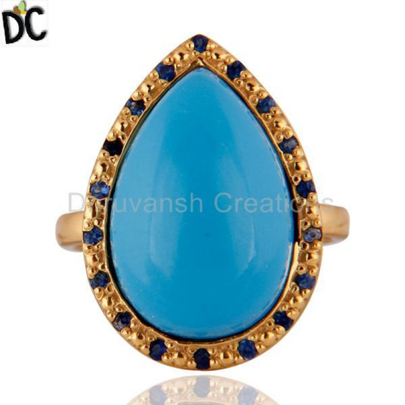 Turquoise And Blue Sapphire Sterling Silver Ring jewelry Manufacturer