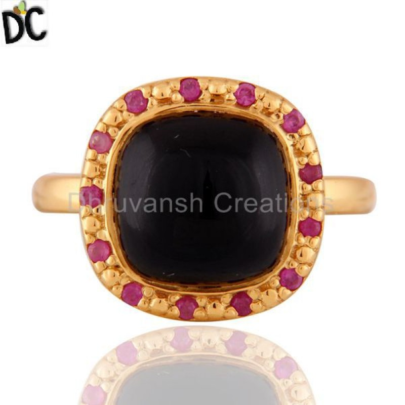 Ruby & Black Onyx Gemstone 925 Sterling Silver Ring Manufacturer