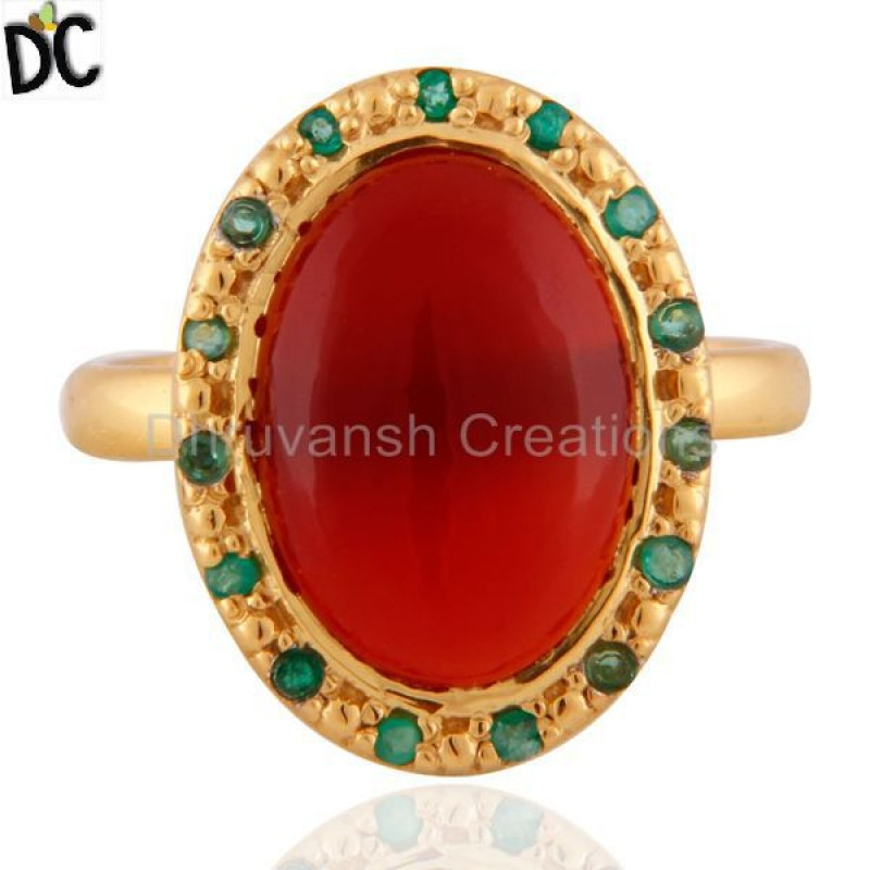 Red Onyx And Emerald Gemstone 925 Sterling Silver Ring Manufacturer