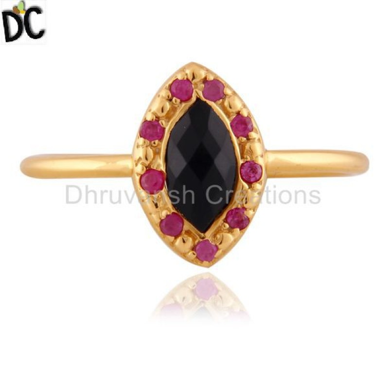 Ruby And Black Onyx Gemstone 925 Sterling Silver Ring Supplier