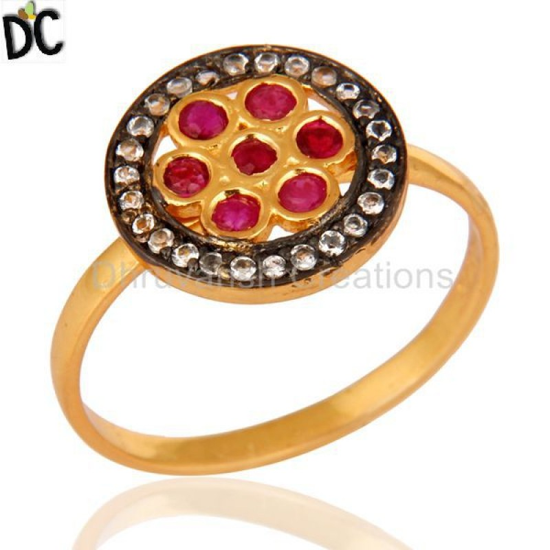 Sterling Silver Ruby And White Topaz Gemstone Ring online jewelry
