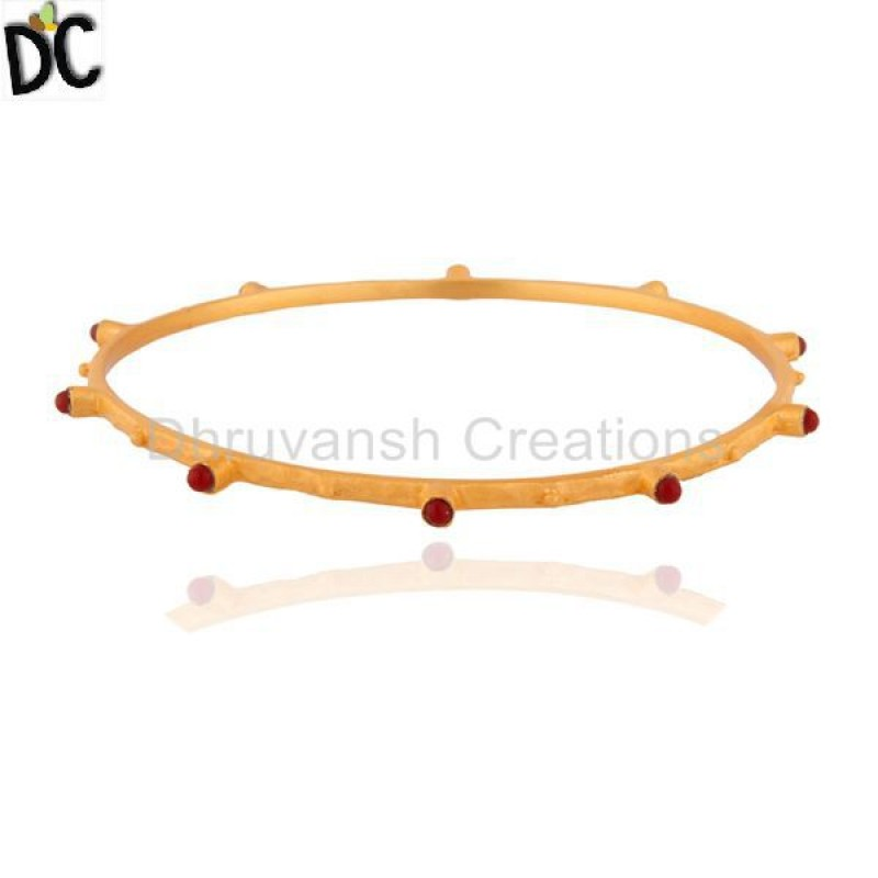 Ruby Gemstone Sterling Silver Bangle Customized Jewelry Manufacturer