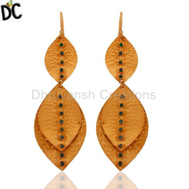925 Silver Emerald Gemstone Gold Plated Earrings jewelry Supplier