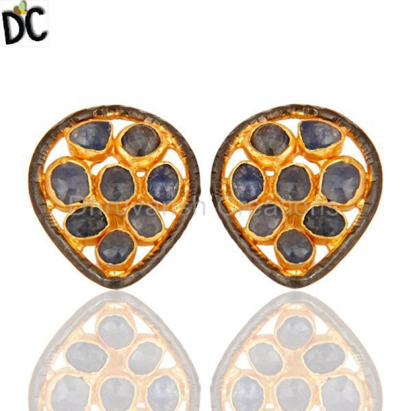 925 Silver Blue Sapphire Earring Gold Plated Designer Jewelry Supplier