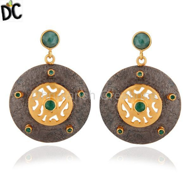 925 Silver Emerald Gemstone Earring Manufacturer of Silver Jewelry