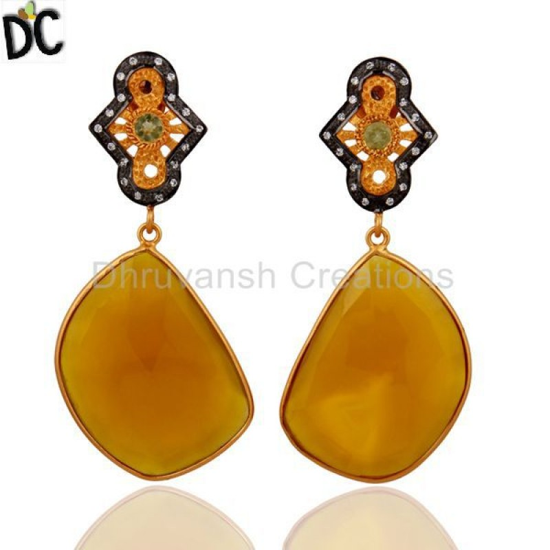 CHALCEDONY DYED YELLOW,PERIDOT,ZIRCON WHITE