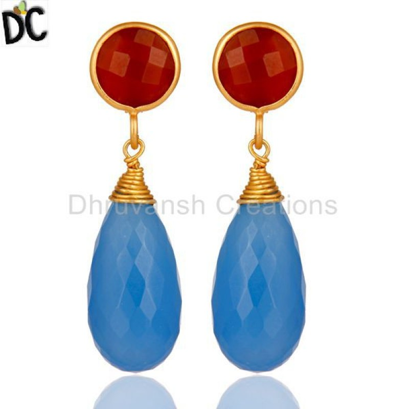 CHALCEDONY DYED BLUE,ONYX RED