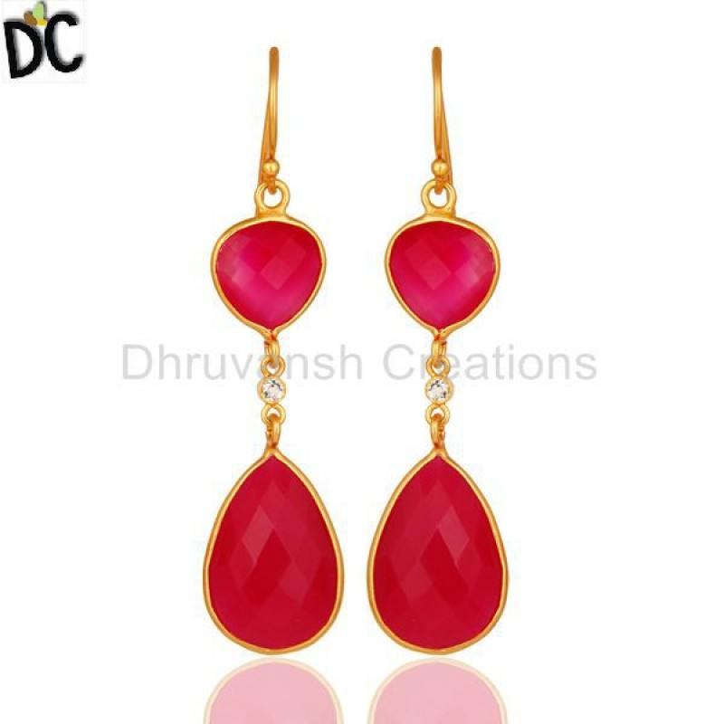 CHALCEDONY DYED PINK,WHITE TOPAZ