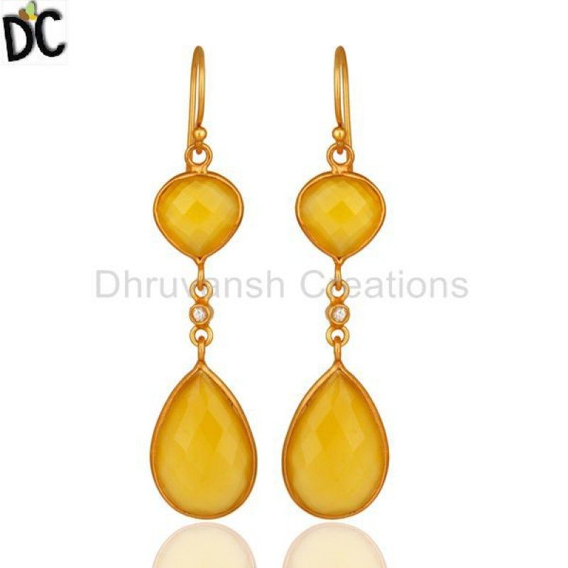 CHALCEDONY DYED YELLOW,WHITE TOPAZ
