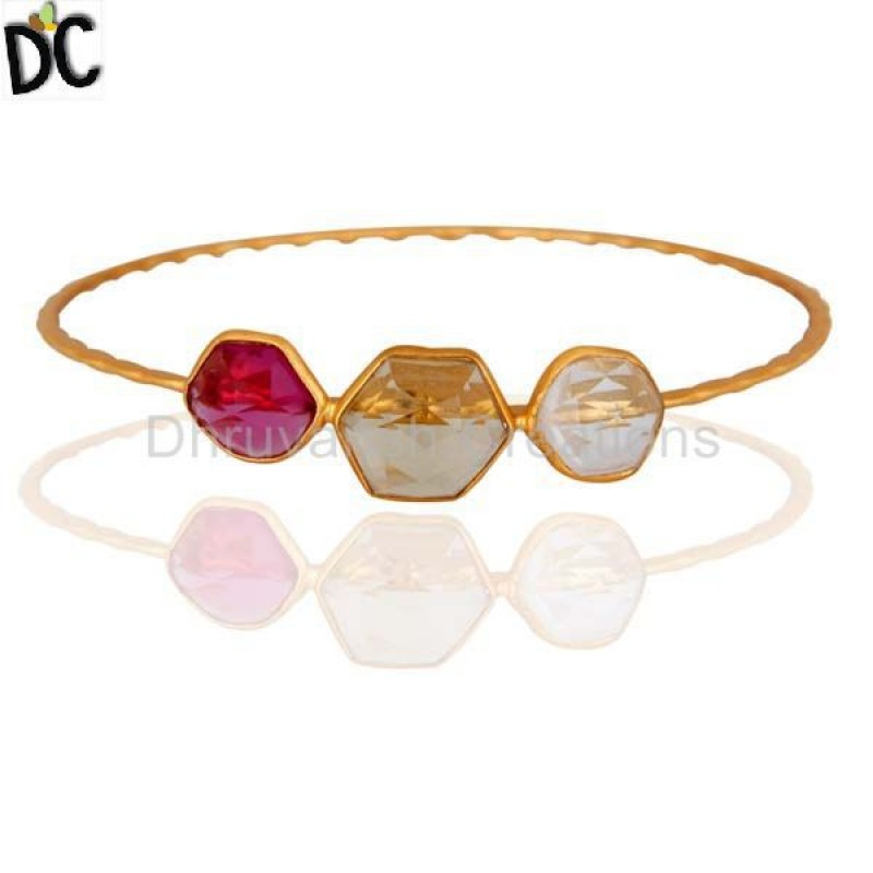 Gold Plated Sterling Silver Bangle Crystal Quartz jewelry wholesaler