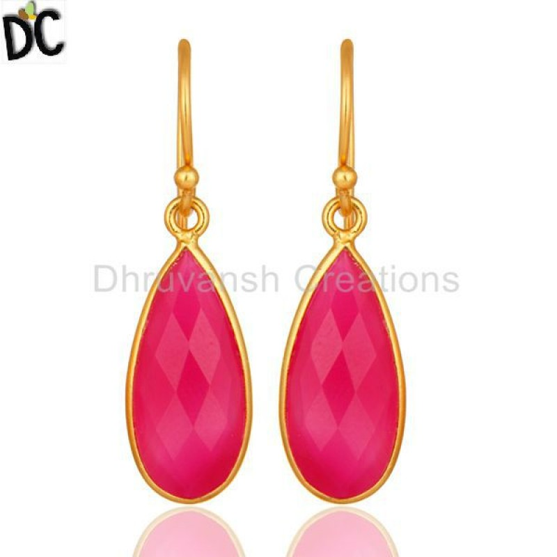 Gold Plated 925 Silver Pink Chalcedony Gemstone Dangle Earring jewelry