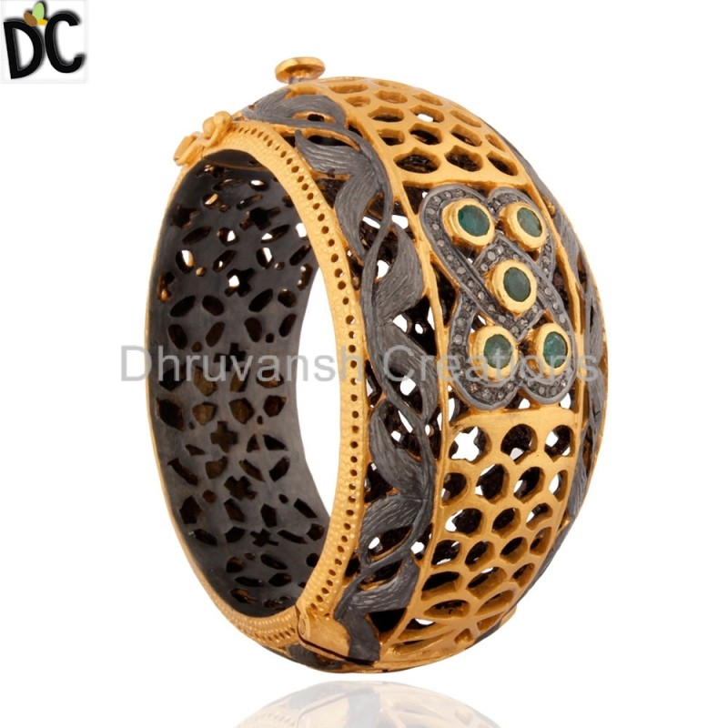 Gold Plated Silver Bangle Emerald & Diamond jewelry store Manufacturer