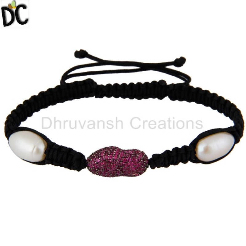 Sterling Silver Ruby And Pearl Gemstone Bracelet Manufacturers