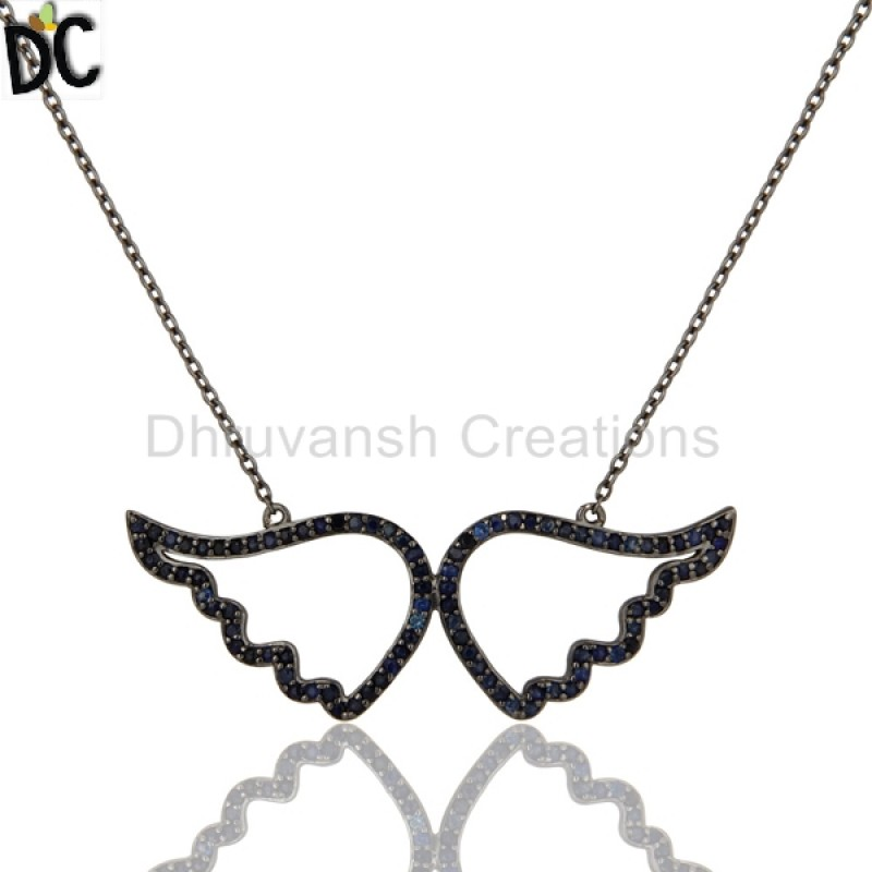 Blue Sapphire Gemstone Sterling Silver Necklace jewelry Manufacturer